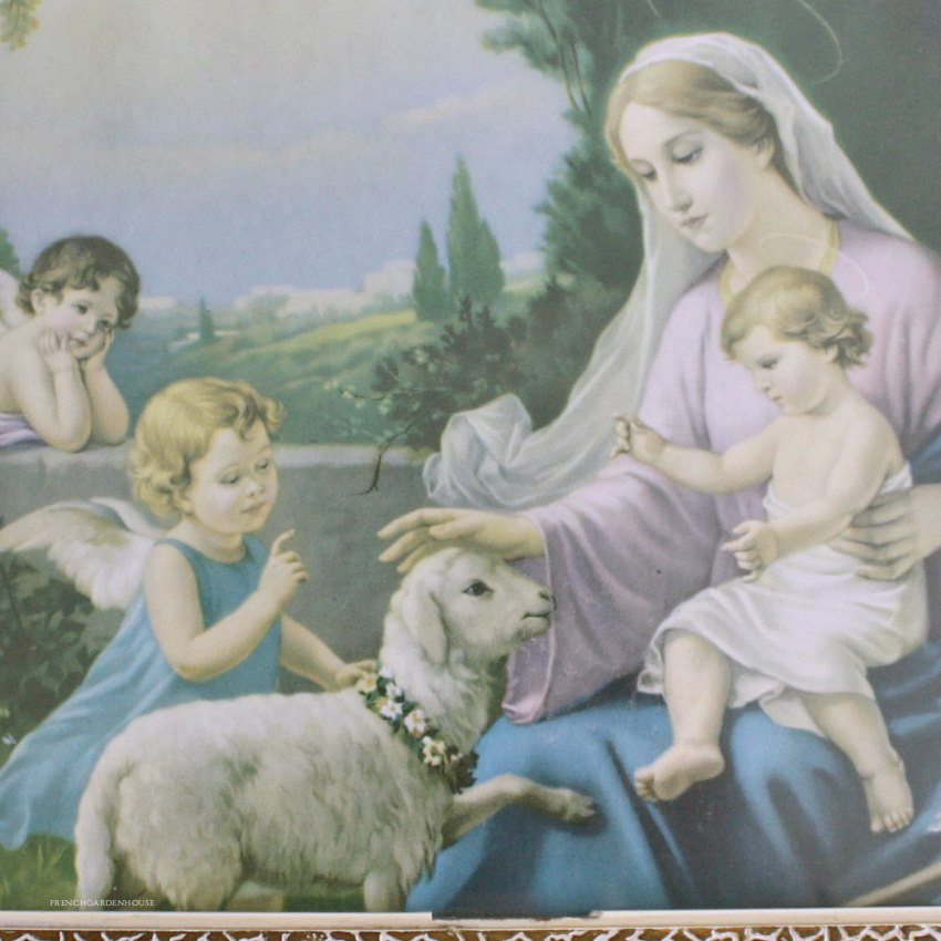 French Vintage Original Framed Madonna and Angels Print