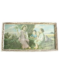 French Vintage Original Framed Christ Child and Sheep Print