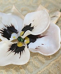 Antique French Opaline Glass Pansy Flower
