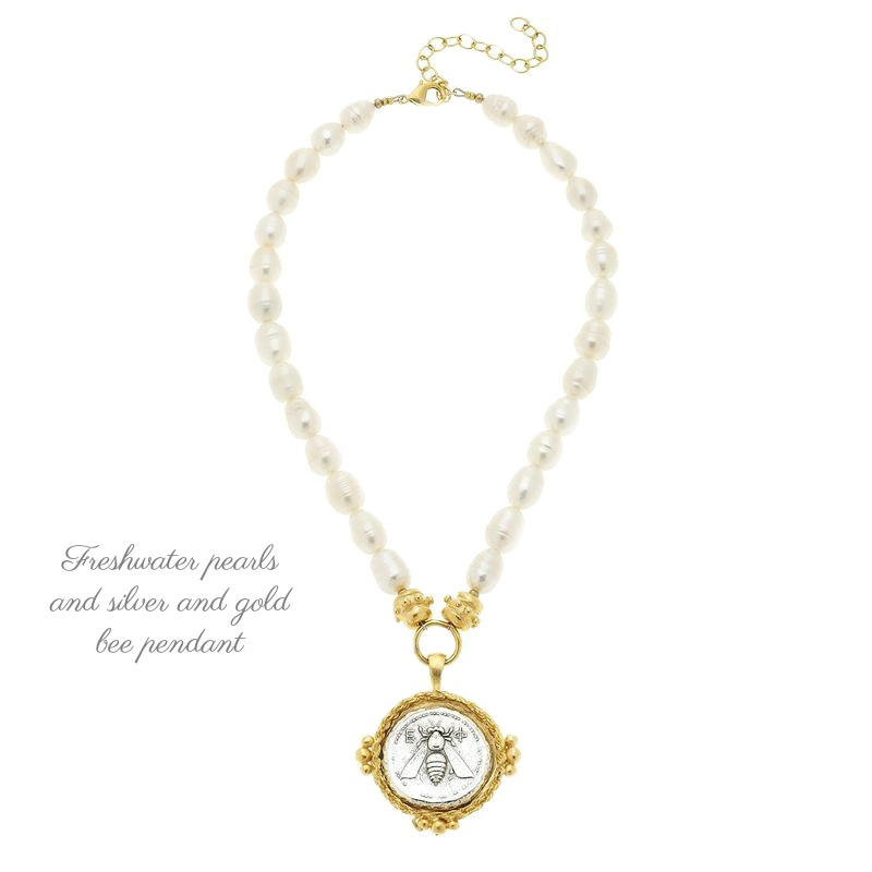 Freshwater Pearl and Bee Coin Necklace