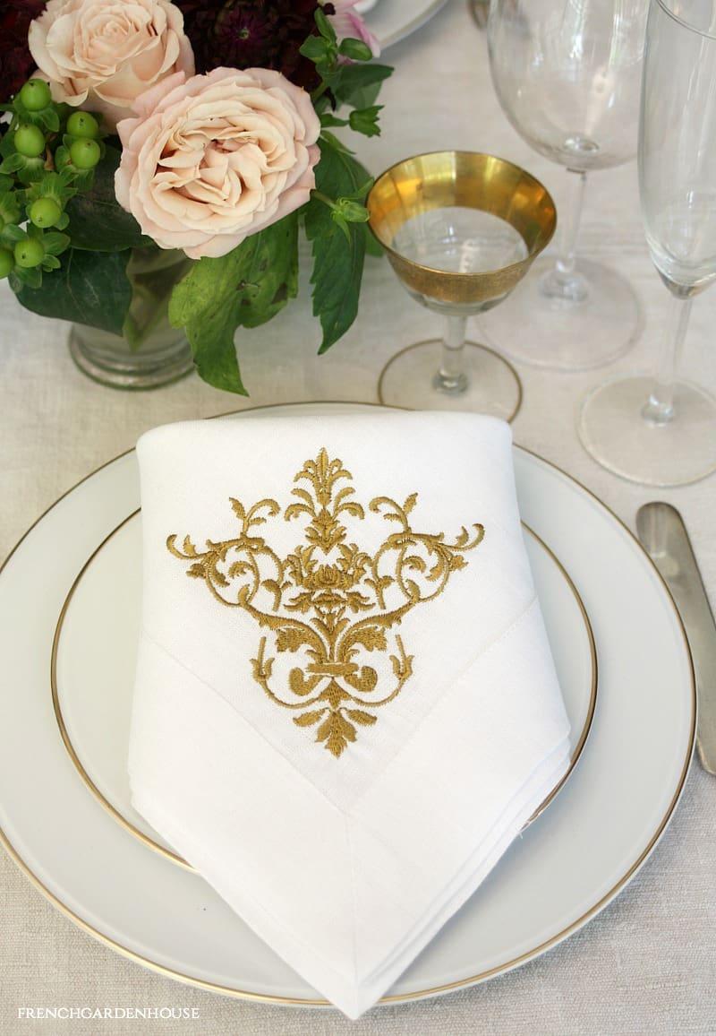 Gold Embroidered Luxury European Large Linen Napkins Set 4