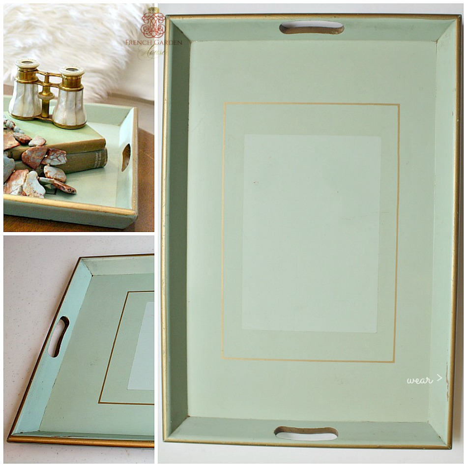 Vintage Shabby Chic Green Wood Tray