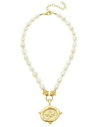 Freshwater Pearl and Abeille Pendant Necklace