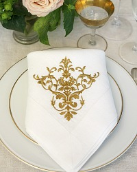 Gold Embroidered Luxury European Large Linen Napkins Set 4