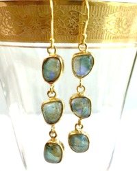 Labradorite Cabochon Dangle Earrings
