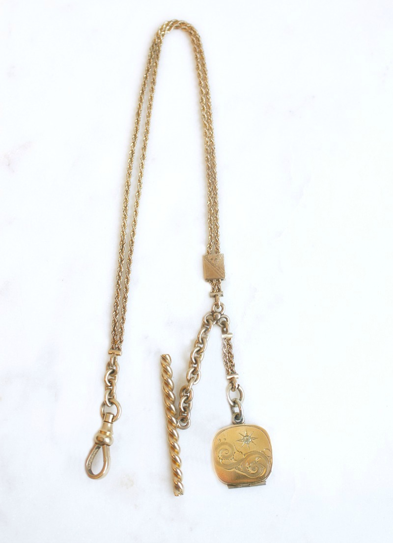 Antique Gold Watch Fob Chain with Locket