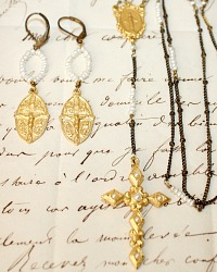 Gold Cross Necklace and Earrings Set
