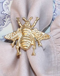 Chic Gold Bee Napkin Ring Set of 4