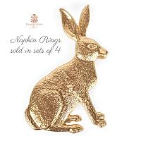 Chic Gold Rabbit Napkin Rings