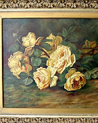 19th Century Antique Gold Rose Oil Painting Original Gilt Wood Frame