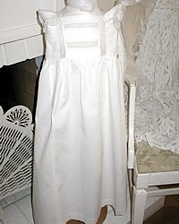 Antique French Christening Baby Gown with Hand Made Lace