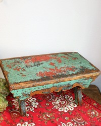 Antique Original Paint Country Foot Stool
