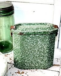 Antique French Enamelware Gamelle Lunch Pail Green Speckled
