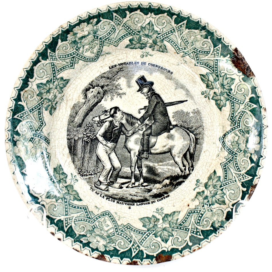 19th Century Green Faience Cabinet Story Plate Keller Les Notables