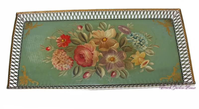 Antique Hand Painted Victorian Green Toleware Tray