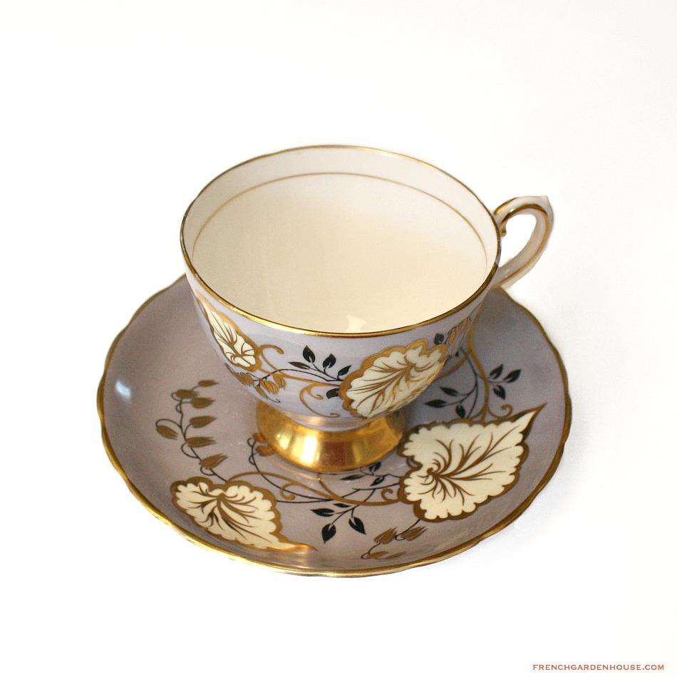 1947 Vintage English Bone China Tea Cup Lavender Hand Painted Gilt Leaves