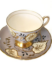 1947 Vintage English Bone China Tea Cup Lavender Hand Painted Gilt Leaves