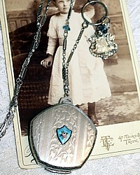 Antique Edwardian Silver & Pink Rose Guilloche Dance Compact Charm Necklace