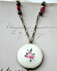 Vintage French Guilloche Pink Rose Locket Necklace