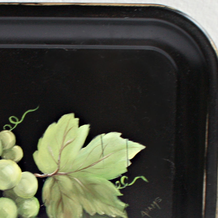Vintage Black Hand Painted Tole Tray with Grapes