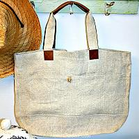 French Country All-day Natural Linen Market Bag Abeille