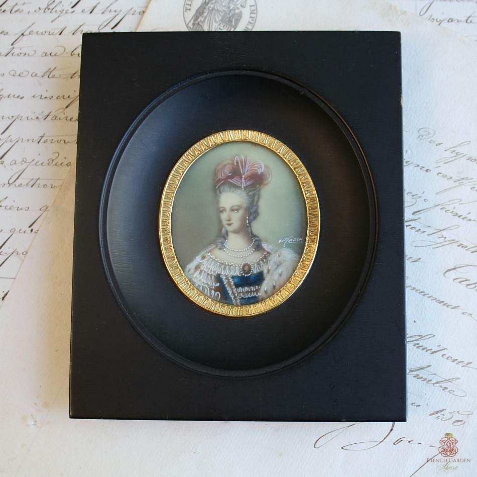 Antique French Miniature Hand Painted Portrait in Ebonized Frame