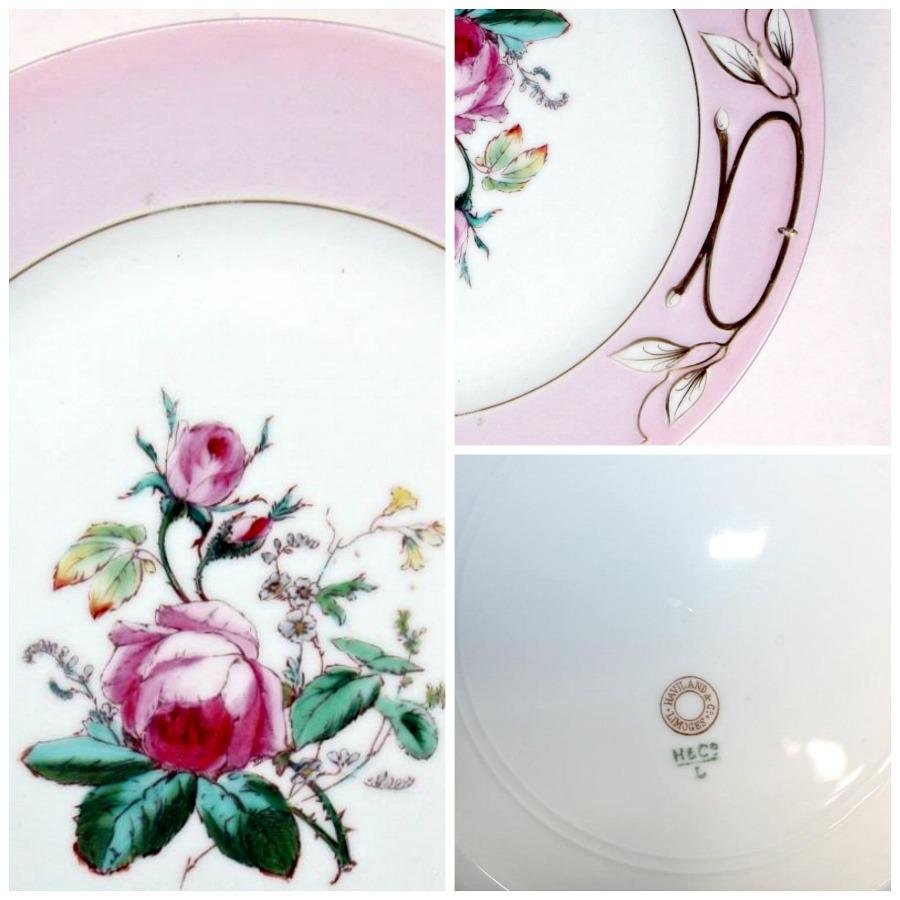 Antique French Haviland Limoges Moss Rose Handled Cake Serving Plate