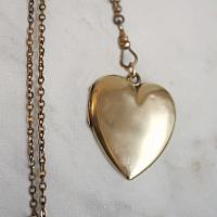 Estate Antique Victorian Heart Monogrammed Locket on Slide Chain