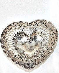 Sterling Silver Footed Repouse Heart Shaped Monogram Bonbon Dish Pair