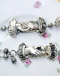One of a Kind Victorian Silver Hands Bracelet