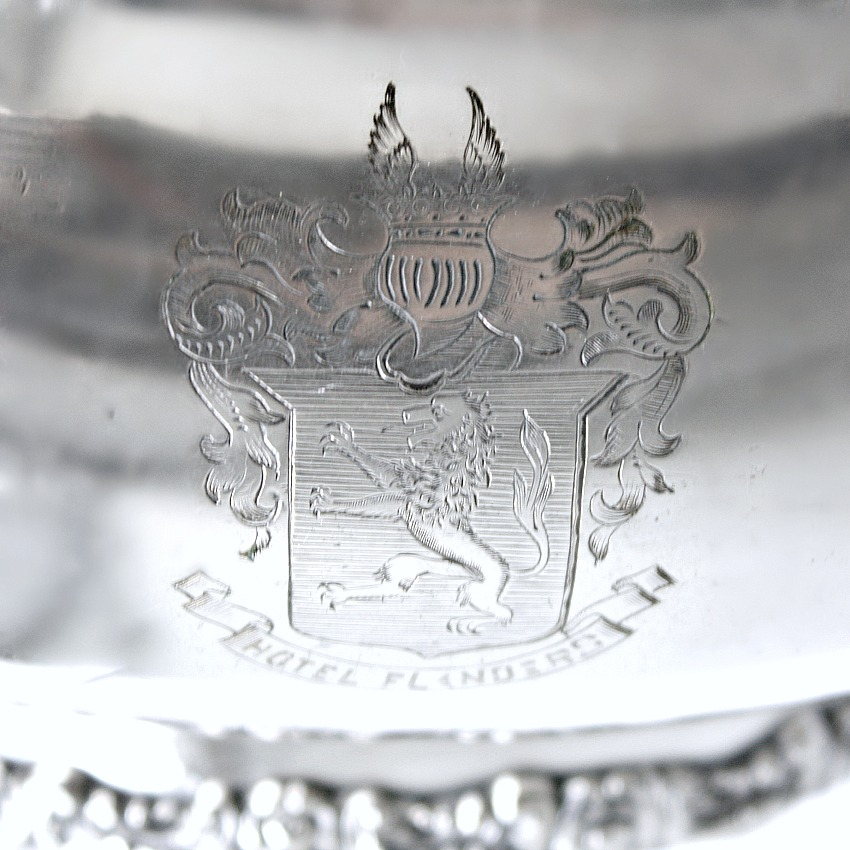 Rare Hotel Silver Flanders Ornate Tureen with Armorial Engraving