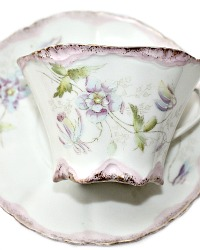Antique French Hand Painted Clematis Tea Cup & Saucer Gilt