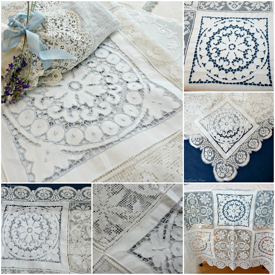 Antique Embroidered Cutwork Amp Lace Linen Tablecloth Icy Blue Roses