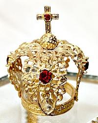 Miniature French Jeweled Filgree Religious Gilt Crown