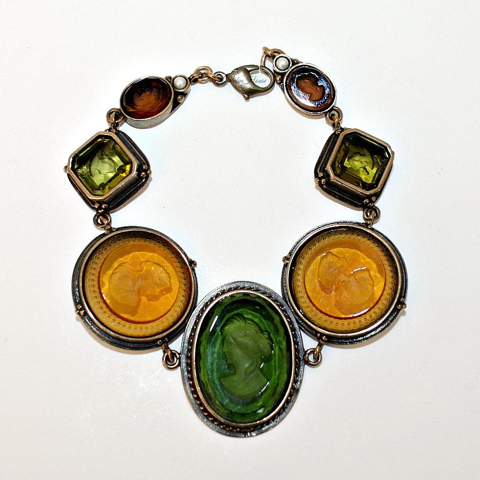 Extasia Classic Balmoral Golden Moss Intaglio Link Bracelet