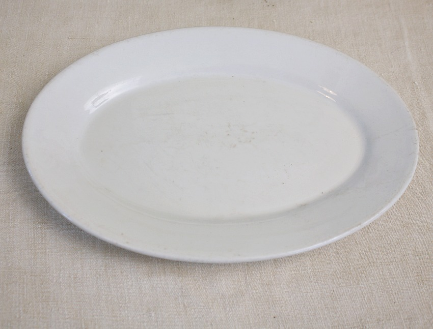 Antique French Country Ironstone Oval Platter