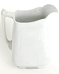 19th Century Antique Large Square English Ironstone Pitcher