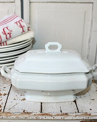 19th Century English Ironstone Footed Tureen with Lid