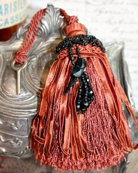 Parisian Atelier Vintage Chestnut Tassel & Antique Key