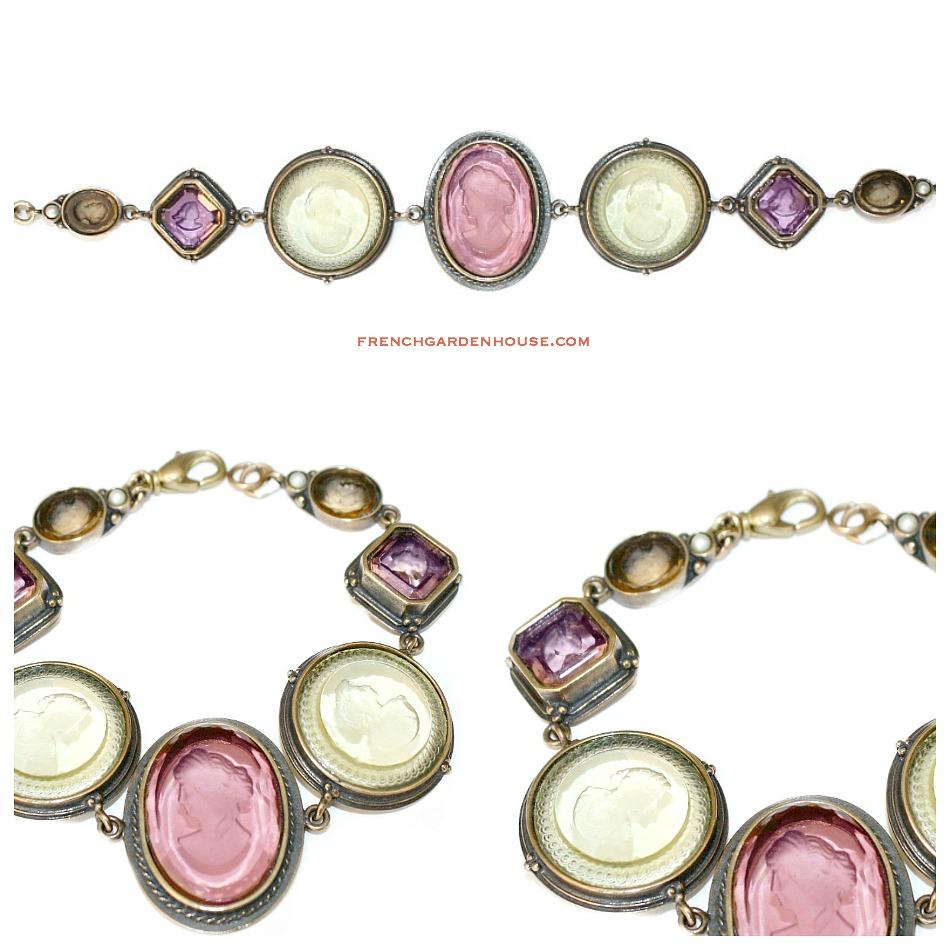 Extasia Opulent Pink Jewel Intaglio Charm Bracelet