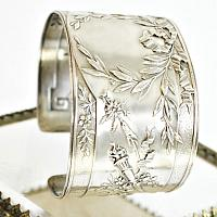 Antique French Sterling Silver Cuff Bracelet Laurel Wreath