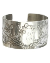 Antique French Sterling Silver Cuff Bracelet Thistles E V