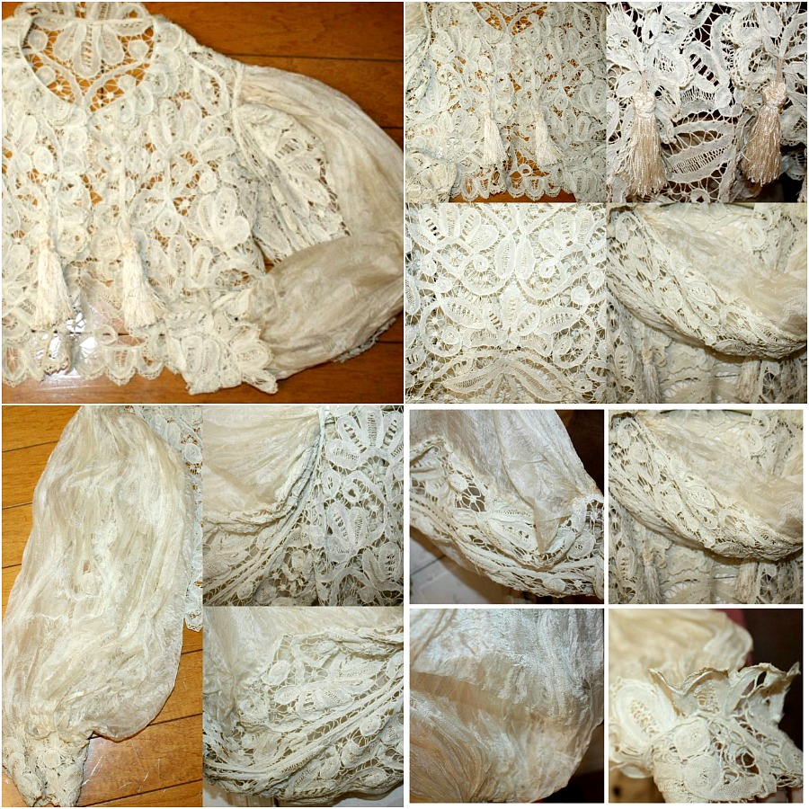 Antique 19th Century French Tape Lace Silk Jacket