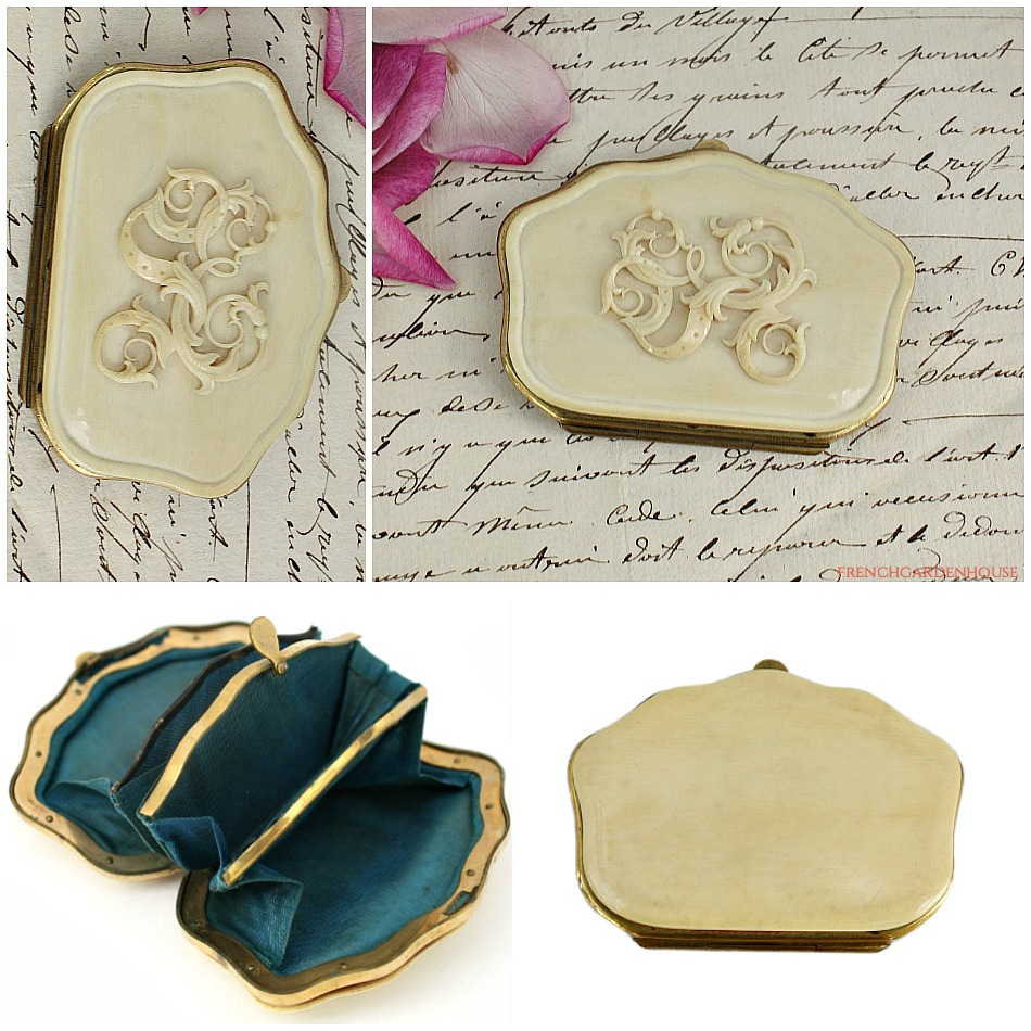 Rare Antique French Carved Celluloid Monogram Coin Purse