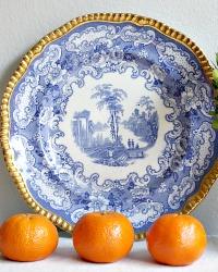 Blue & White Transferware Plate Gilt Rim