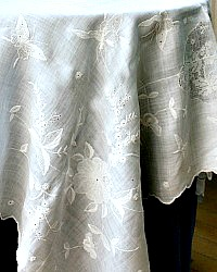 Vintage Shabby Grass Linen Embroidered Supper Cloth Figural Lace Butterflies
