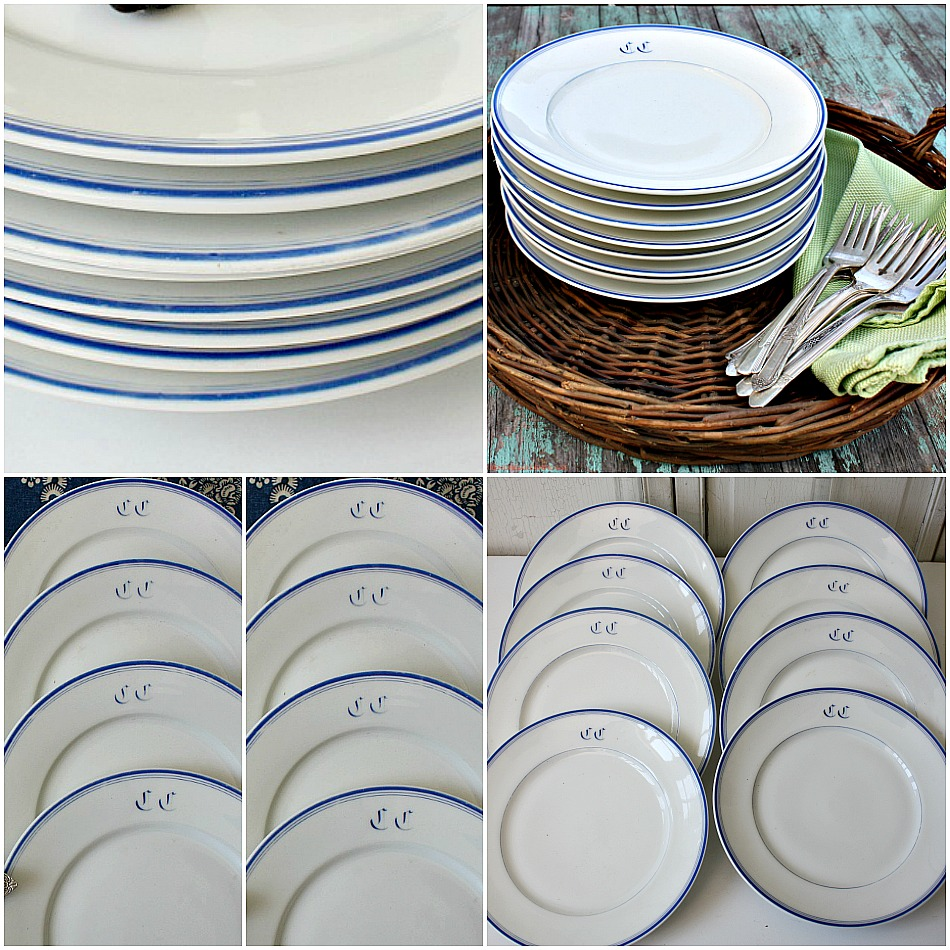 & Antique French Hotel Monogram Blue White Plate Set of 8 Large