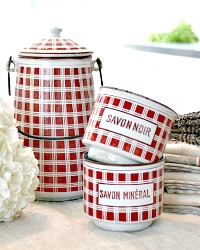Antique French Enamelware Red & White Check Laitiere Cream Milk Pail & Savon Containers