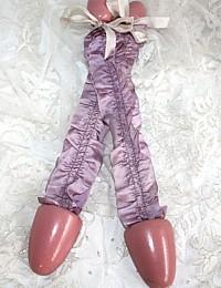 Vintage 1920's Silk Lavender Ribbon Shoe Stretchers Pair