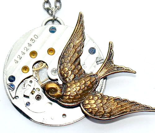 Sterling Silver Golden Swallow Bird Necklace